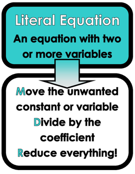Literal Equations Preview