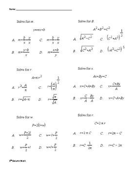 Literal Equations (Quiz)