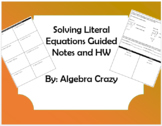 Literal Equations (Rearranging Formulas) Guided Notes and HW