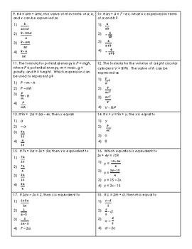 Literal Equations Regents Review (Notes & Practice Questions)