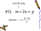 Literal Equations Review