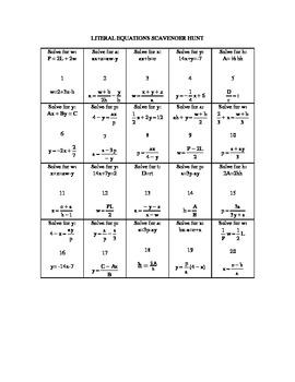 Literal Equations Scavenger... by jwdaisy | Teachers Pay Teachers