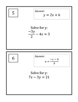 Literal Equations Scavenger Hunt