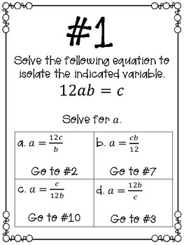 Literal Equations Scavenger Hunt