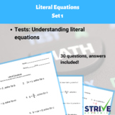 Literal Equations - Set 1, Practice for ACT and SAT