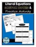 Literal Equations Sketch Notes and Practice Activity