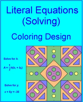 Literal Equations (Solving) # 2 - Coloring Activity
