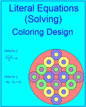 Literal Equations (Solving) # 1 - Coloring Activity