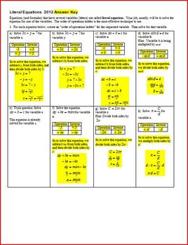 Literal Equations - Solving Literal Equations with answer key (Editable)