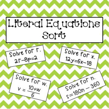 Literal Equations Sorting Activity: