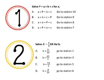 Literal Equations Station Maze