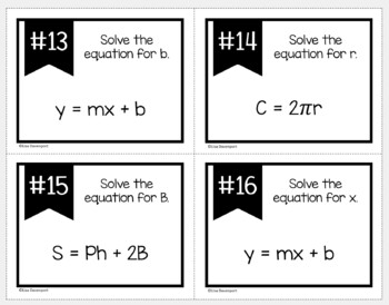 Literal Equations (Task Cards)