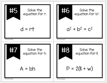 Literal Equations (Task Cards)