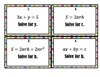 Literal Equations - Task Cards