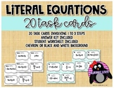 Literal Equations * Solving for a Variable * Task Cards
