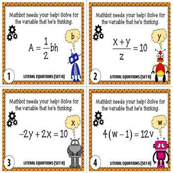 Literal Equations Task Cards