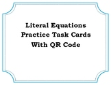 Literal Equations Task Cards with QR Codes