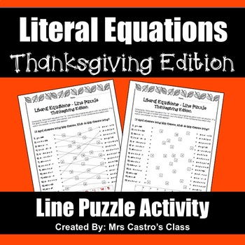 Literal Equations Thanksgiving Puzzle Activity