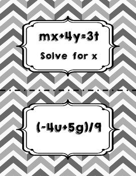 Literal Equations Walk Around Activity