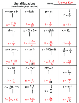 Literal Equations Worksheet By Kevin Wilda Teachers Pay Teachers