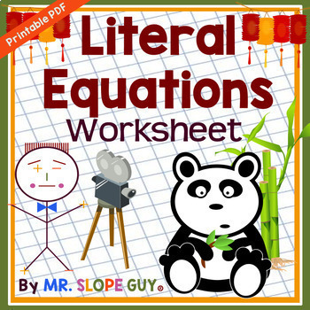 Literal Equations Worksheet By Mr Slope Guy Teachers Pay Teachers