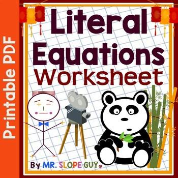 Literal Equations Worksheet