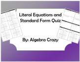 Literal Equations and Graphing in Standard Form Quiz