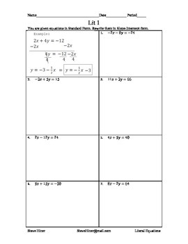 Literal Equations featuring slope intercept form among other types