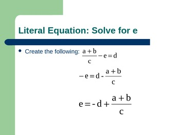 Literal Equations (with Manipulatives)