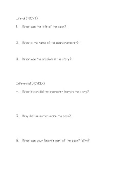 Literal & Inferential Questions WS