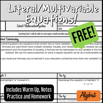 Literal Multivariable Equations - Notes, Warm Up, Practice, HW - FREE!