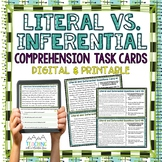 Literal Vs. Inferential Comprehension Task Cards