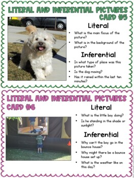 Literal Vs. Inferential Pictures Task Cards { Inference in Pictures )