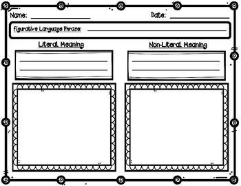 Literal and Non-Literal Figurative Language Graphic Organizer