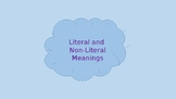 Literal and NonLiteral Meanings Powerpoint