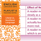 Literal vs. Nonliteral Language - Playlist and Teaching Notes