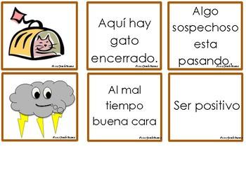 Literal vs. nonliteral matching game (Idioms) SPANISH