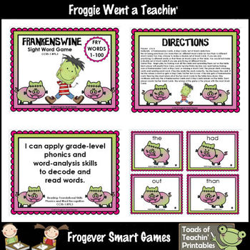Literacy Center--Frankenswine Sight Word Game (First 100 Fry Words)
