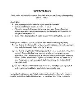 Literary 5 Paragraph Essay Editing Bingo