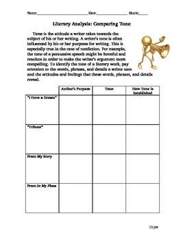 Literary Analysis- Comparing Tone Chart