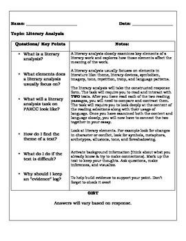 Literary Analysis Cornell Note-taking Organizer