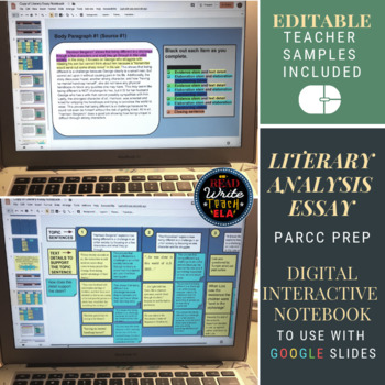 Literary Analysis Essay Digital Interactive Notebook: PARCC Prep