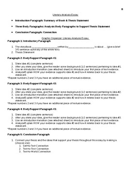 Literary Analysis Essay Outline Organizer & Transition Page