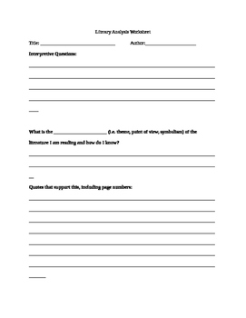 Literary Analysis Essay Scaffolding Worksheet