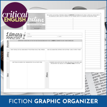 Literary Analysis Graphic Organizer FOR ANY TEXT: Editable and Printable