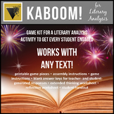 Literary Analysis KABOOM Critical Thinking Game for Fictio