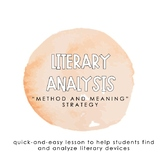 Literary Analysis: Method and Meaning Lesson