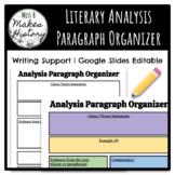 Literary Analysis Paragraph Organizer! GOOGLE SLIDES! Editable!