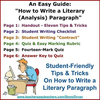 """An Easy Guide: """"How to Write a Literary (Analysis) Paragraph"""" with Quiz"""