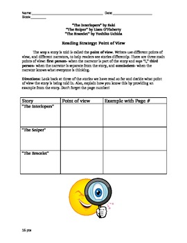 Literary Analysis- Point of View Comparison Chart